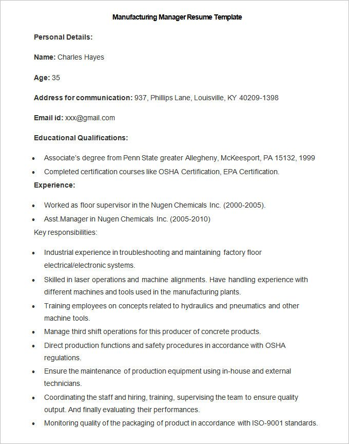 13+ Free Manufacturing Resume Templates Word  PDF Sampleformats