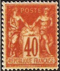 """1876-81 - """"Sage"""". Gruppo allegorico (Pace e Commercio) - 40 c."""