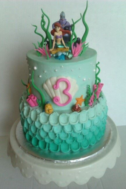 lil mermaid themed cake Cakesbaked goods Pinterest Mermaid