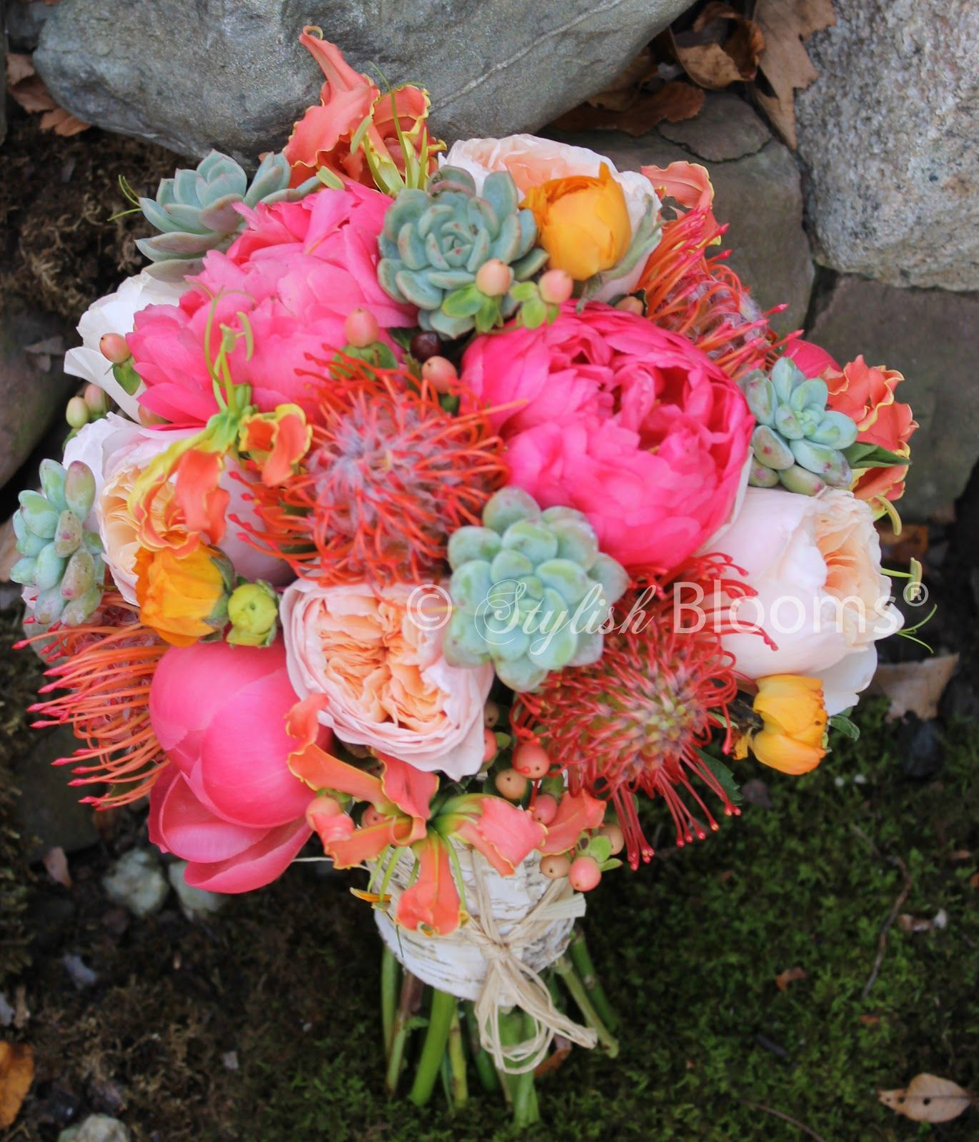 succulent sunflower and peony bouquet - Google Search | {Erika & Pat ...