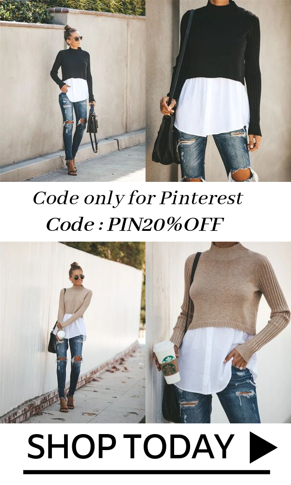 Photo of Exlura Patchwork Ribbed Sleeve Pullover