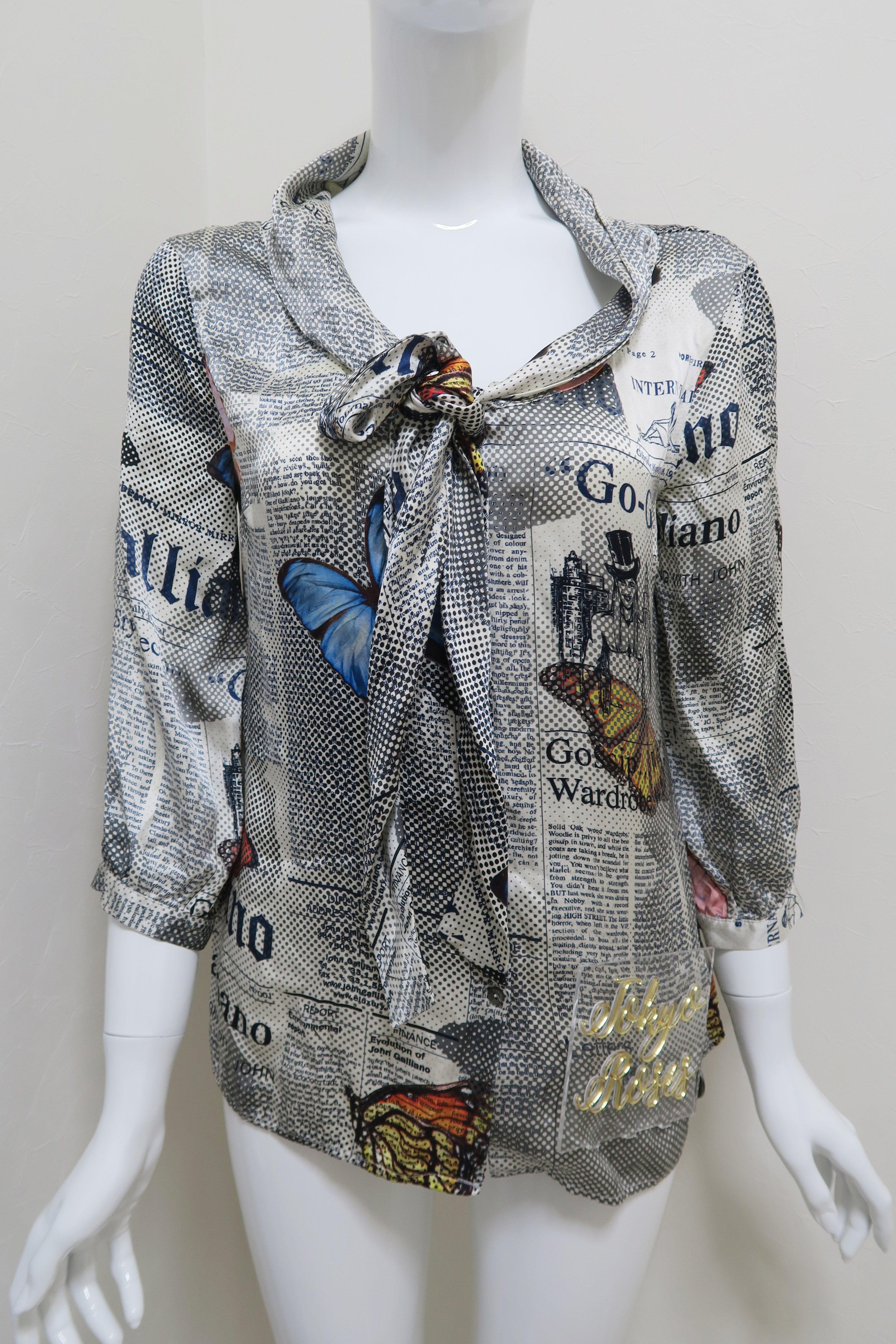 Silk John Galliano Gazette Newspaper Print Womens Shirt Womens Shirts Women Clothes