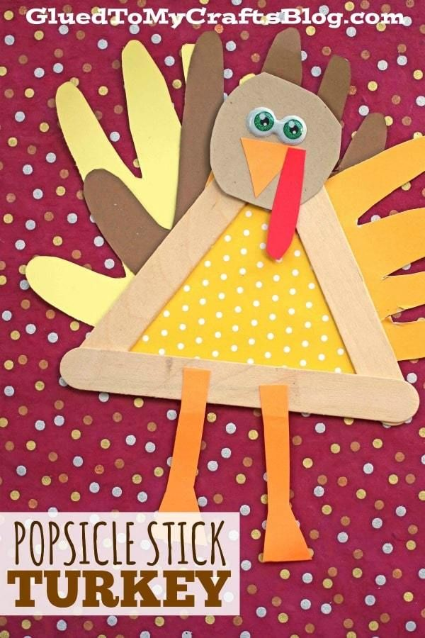 Popsicle Stick Turkey Friend - Thanksgiving Kid Craft Idea