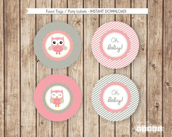 Owl Baby Shower Party Decorations Pink Baby by thespottedpixel
