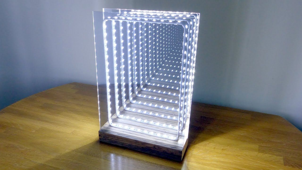 In This Video I Make An Infinity Illusion Mirror In A Modern Style Which Also Can Also Be Used As A T Led Infinity Mirror Infinity Mirror Diy Mirror Table Lamp