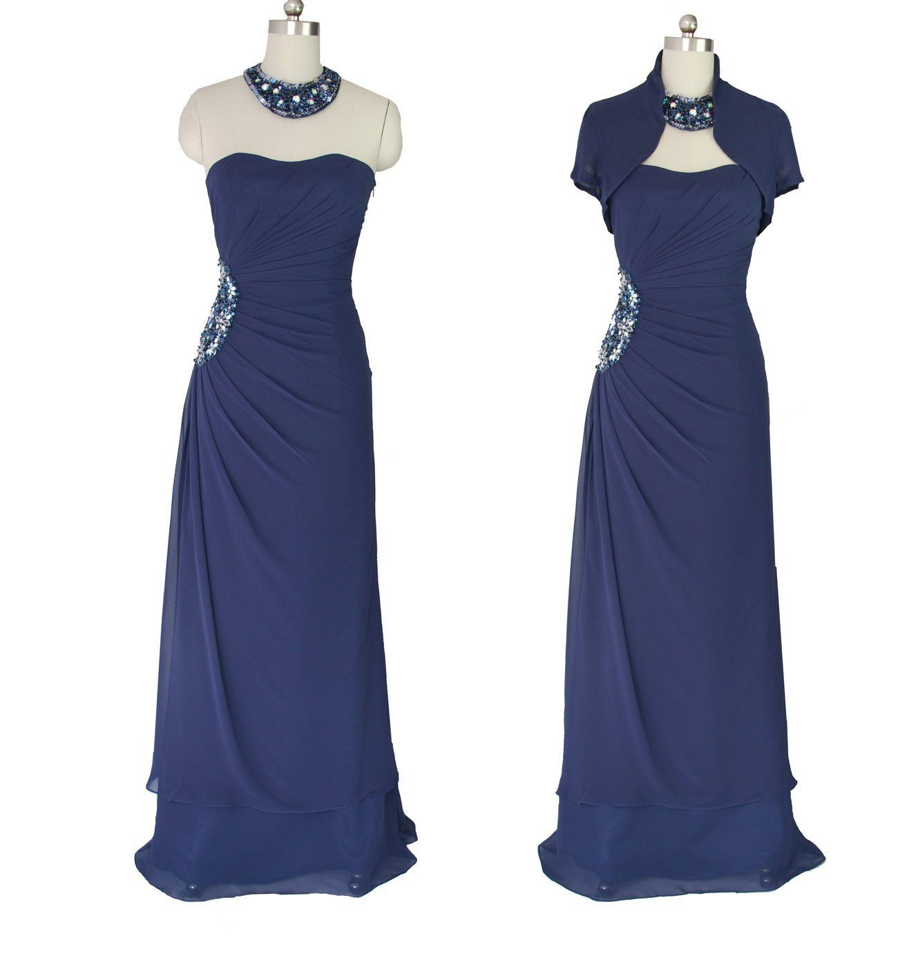 Evening Gown | 1280NV Qpid Showgirl Navy Blue Chiffon dress Choker Bolero Bridesmaid ...