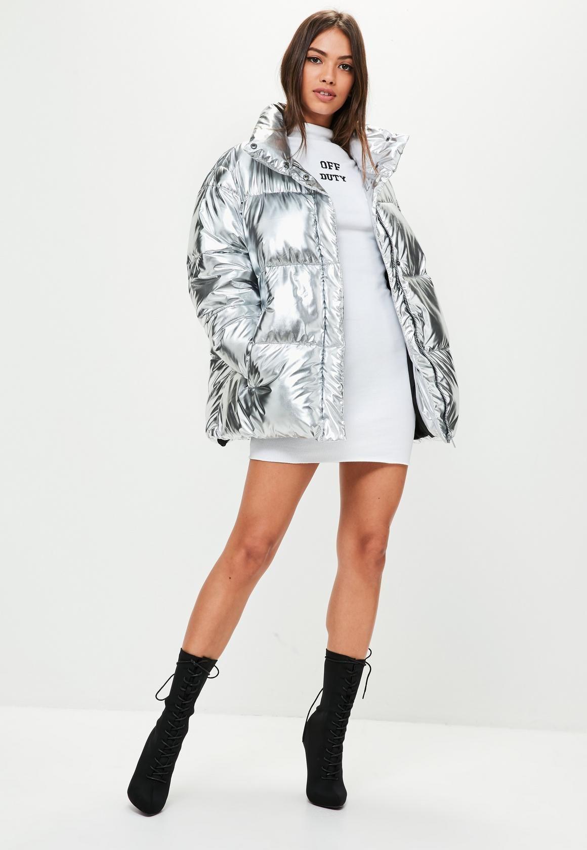 Silver Metallic Puffer Jacket Missguided Silver Jacket Outfit Metallic Jacket Puffer Jacket Outfit [ 1680 x 1160 Pixel ]
