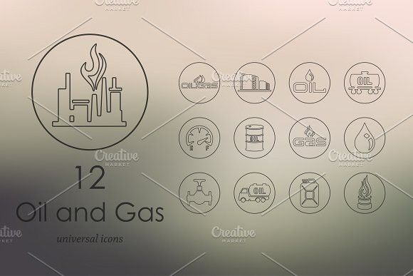 12 Oil And Gas Line Icons Line Icon Oil Gas Blurred Background