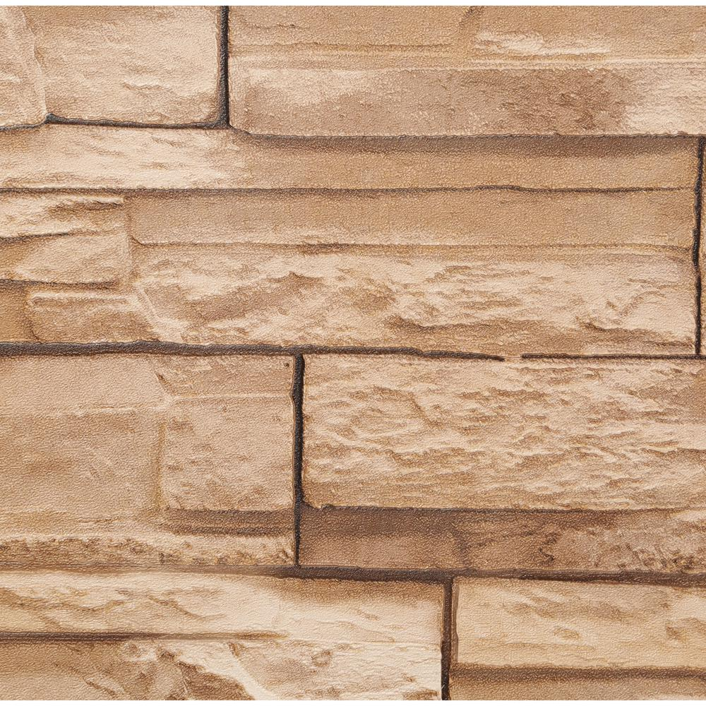Brown Rock Fireplace Accent Wall Color: York Wallcoverings Travertine Wallpaper, Golden Brown