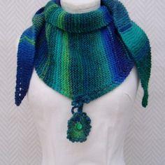 07cd9d780a18 Echarpe, chèche en laine bleu, vert violet, turquoise, tricoté main