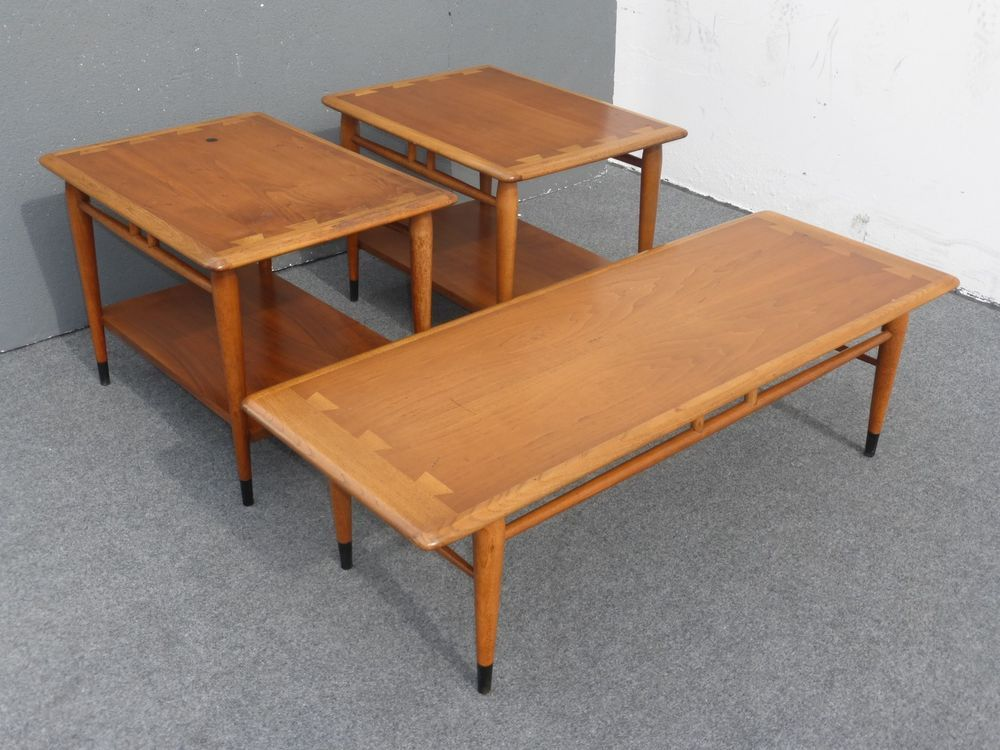 Vintage LANE ACCLAIM Mid Century COFFEE TABLE & Pair END TABLES
