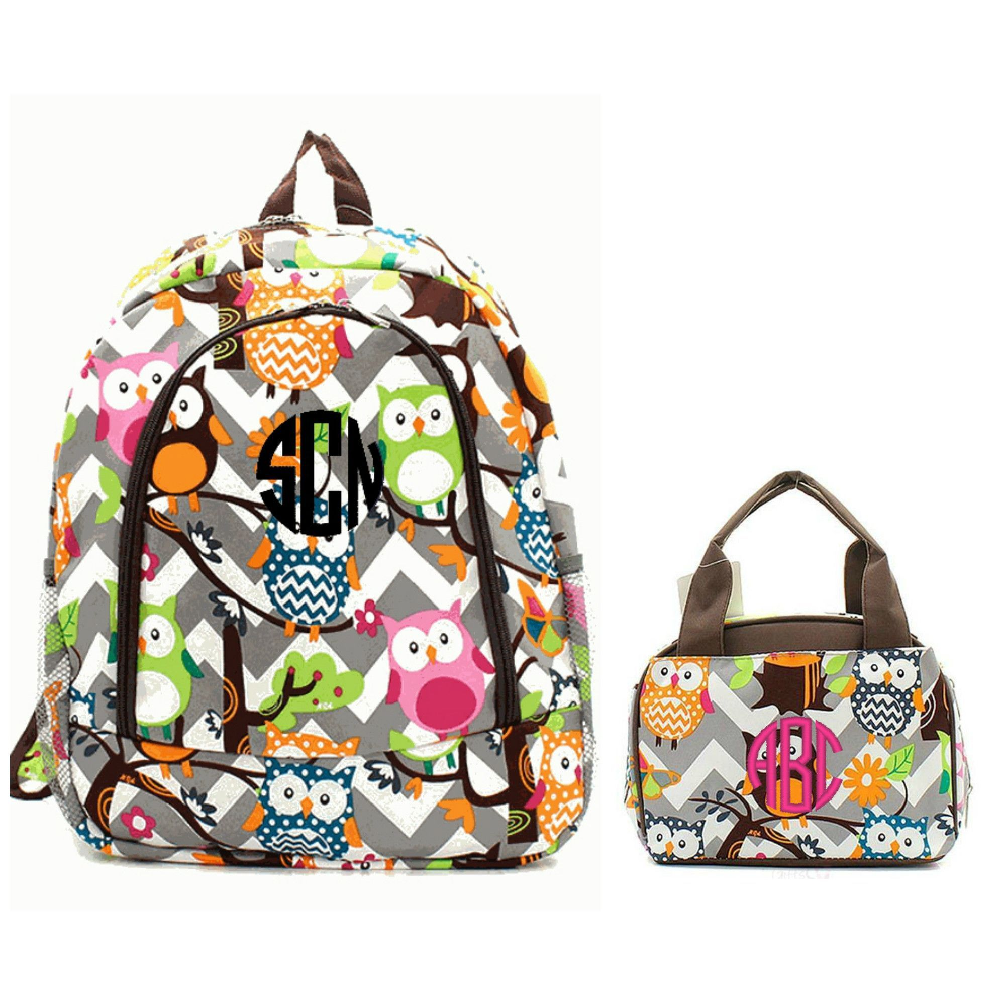 Matching Gray Owl Brown Personalized Kids Backpack & Lunch Bag Set ...