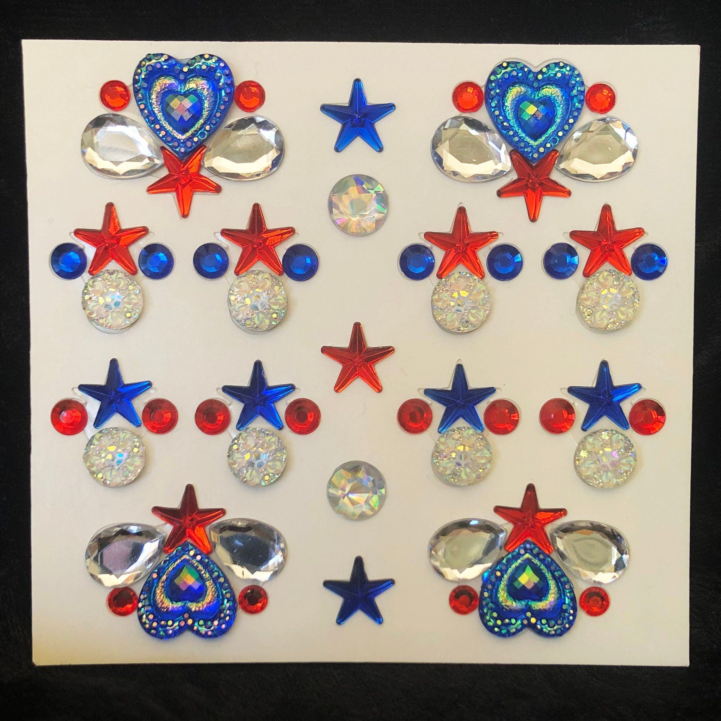 Patriotic July 4th Body & Face Bling Clusters - Red, White and Blue #howtoapplybling Face and Body Bling custom made and mounted to double sided adhesive medical tape. Easily remove each rhinestone cluster by simply lifting and peeling then stick to skin. Holds extremely well on skin and is safe to use.  See my video on the home page for instructions on how to peel and apply, it's so easy and fast, you'll be amazed.  Includes 12 gem clusters - 4 large star and heart clusters, 8 smaller star and #howtoapplybling