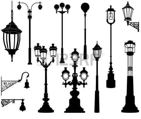 Street Lamp Set Dibujos Detallados Faroles Calle