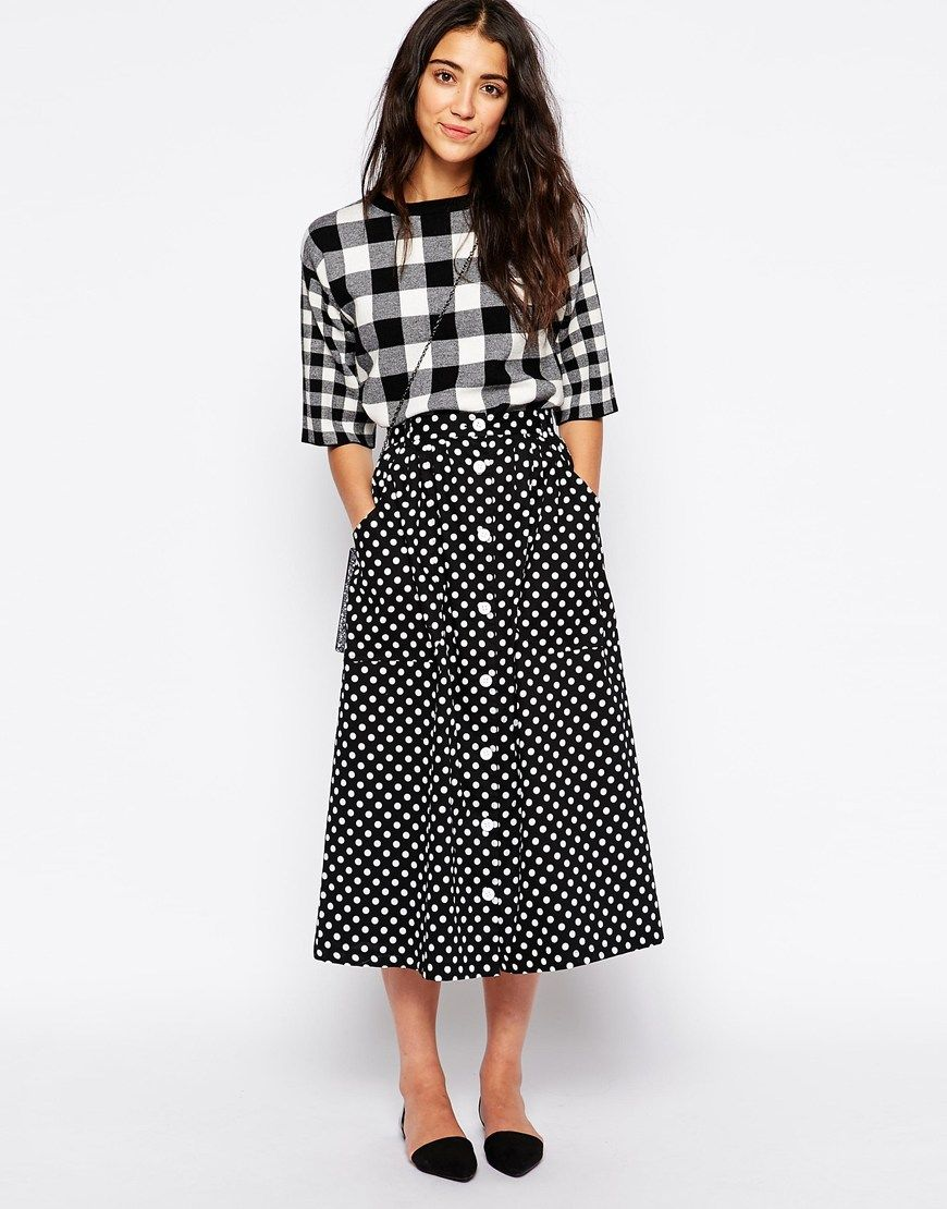 Midi skirts, Polka dots and Dots on Pinterest