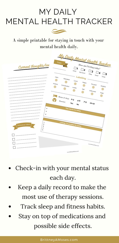 My Daily Mental Health Tracker (Printable)  #mentalhealthjournal