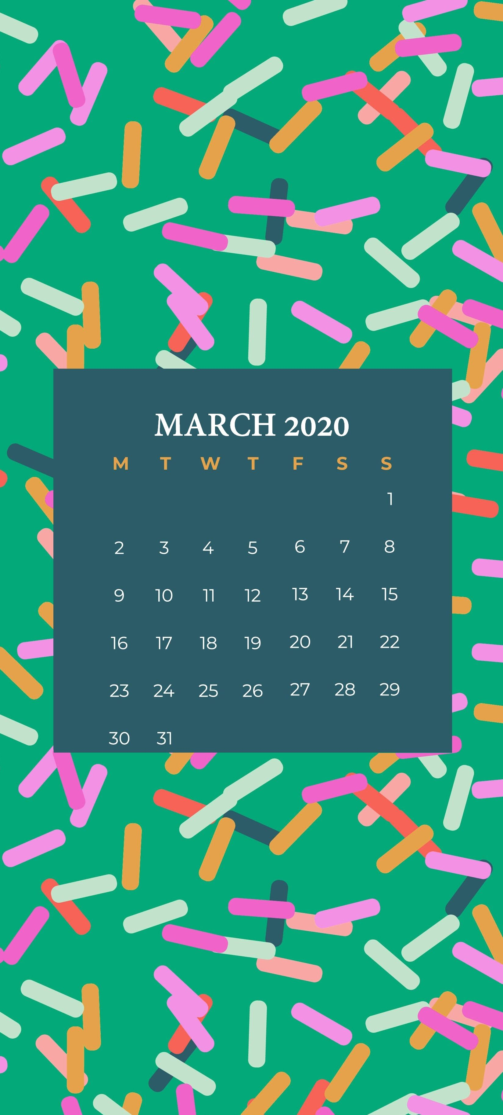 iPhone March 2020 Wallpaper Calendar in 2020 Calendar