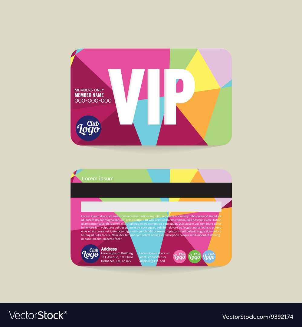 Front And Back Vip Member Card Template With Regard To Membership Card Template Free Business Professional Te Member Card Membership Card Card Templates Free