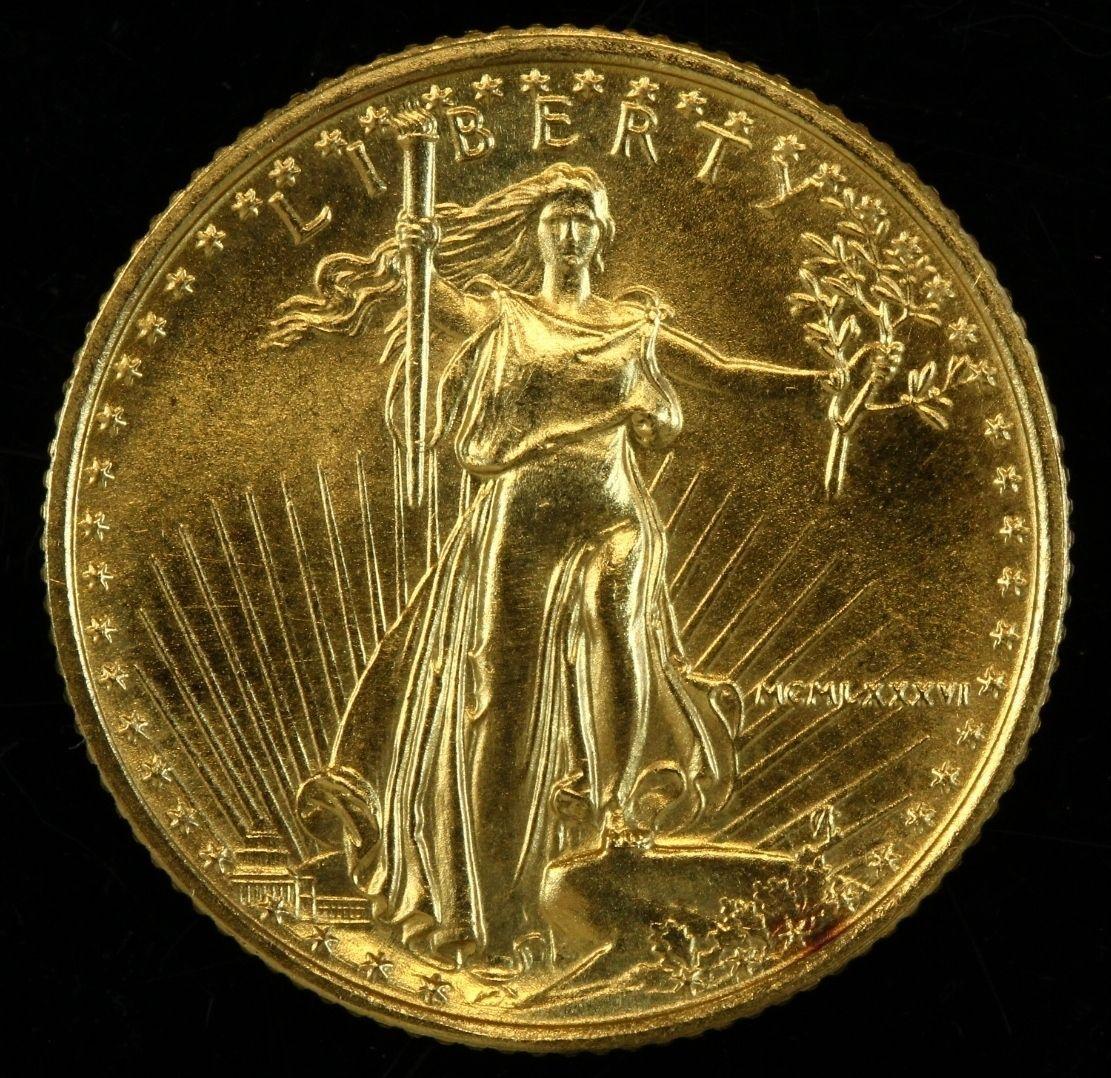 1986 American Eagle Five Dollar 1 10 Oz Fine Gold Bullion Coin 14kgold Bullion Coins Gold Bullion Gold Coins