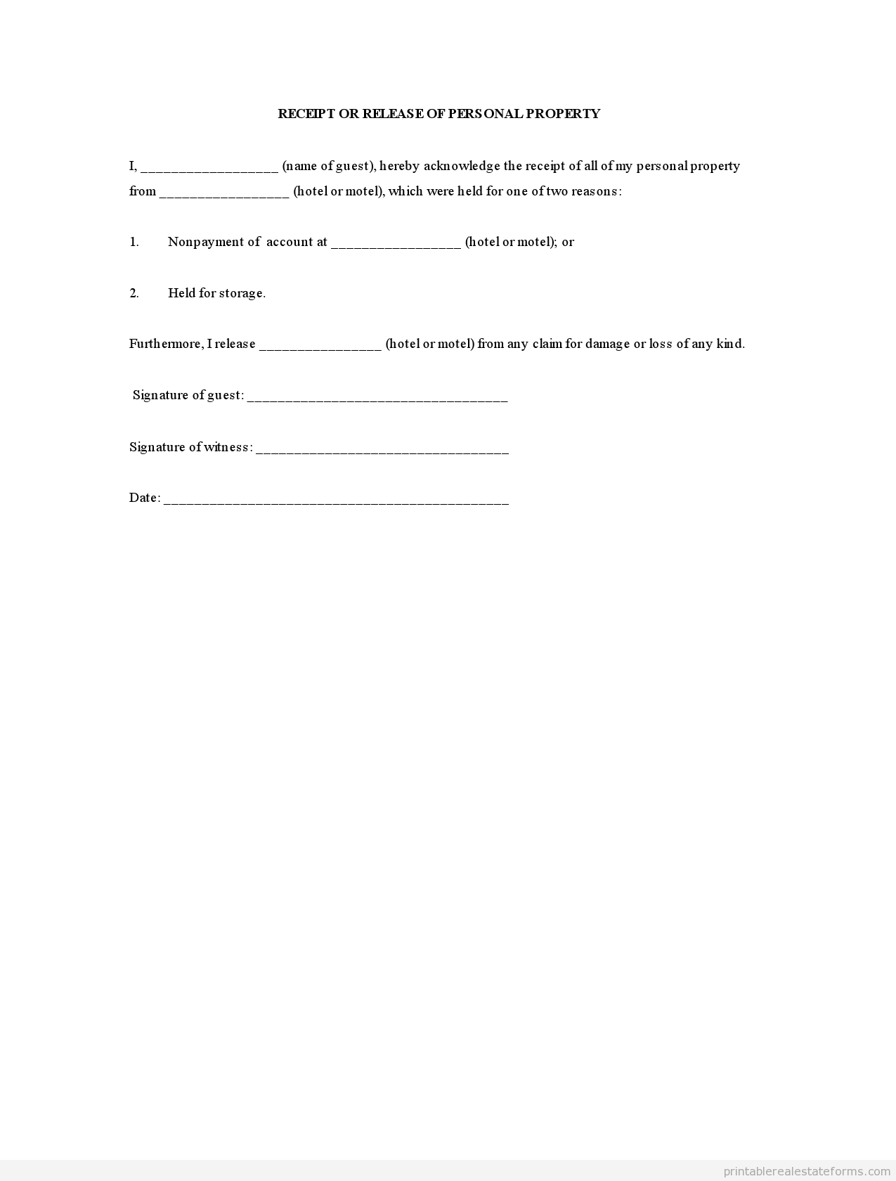 Sample Printable Receipt Or Release Of Personal Property Form