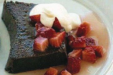 Beautiful chocolate baked ricotta with strawberries is a simple but impressive dessert for hot summer nights.