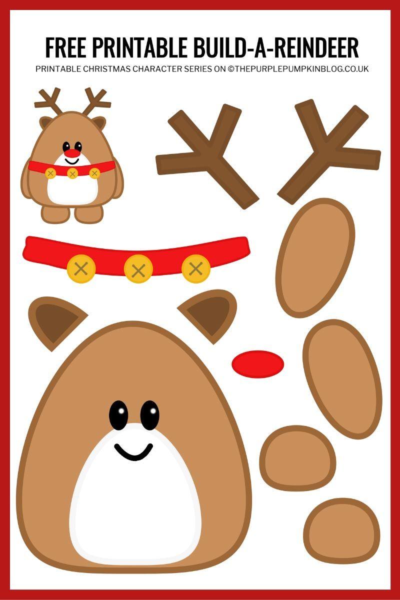 Build A Reindeer Printable Free Printable Paper Reindeer Template Christmas Crafts For Kids Reindeer Printable Printable Crafts
