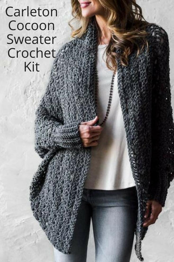 0a823371982f39 Carleton Cocoon Sweater Crochet Kit  craftsy  affiliate  crochet  sweater   diy