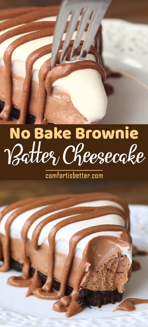 Photo of Easy No Bake Brownie Batter Cheesecake Recipe [Video] #cheesecake #easydessert