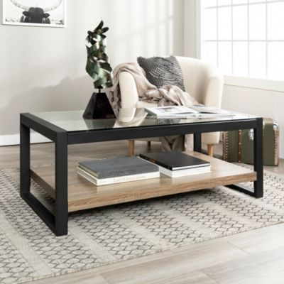 48 Industrial Metal Glass Coffee Table Driftwood Gray
