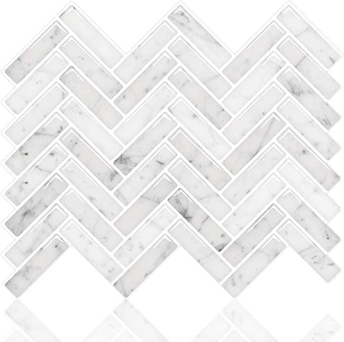 Stickgoo Peel And Stick Tile Backsplash Sky Marble Herringbone Adhesive Backspl Adhesive Backspl B Stick On Tiles Peel And Stick Tile Adhesive Backsplash