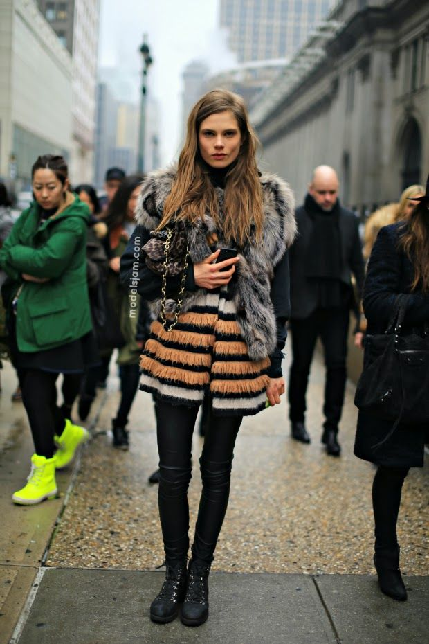 fab fur. Caro #offduty in NYC. #CarolineBraschNielsen