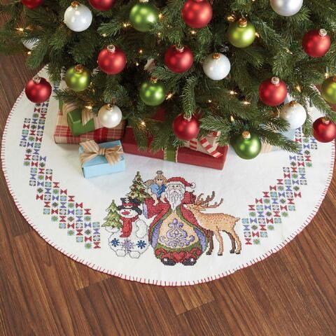 Herrschners Santa Friend Tree Skirt Stamped Cross Stitch Kit Christmas Cross Christmas Cross Stitch Christmas Stamps