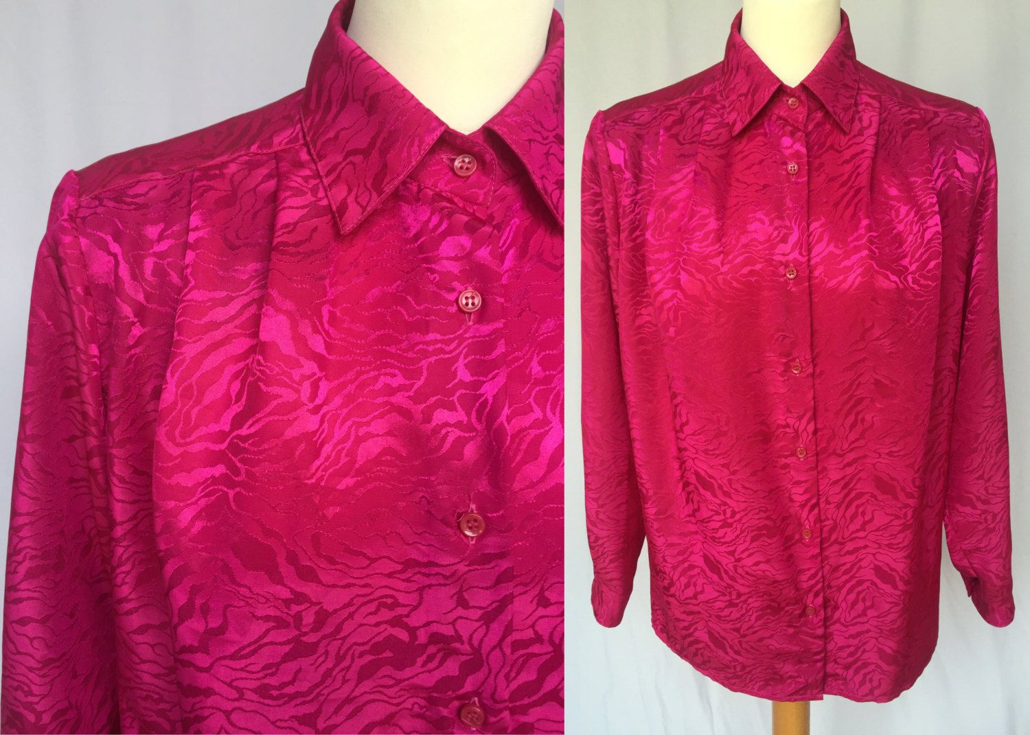 46238ff3f662 80 s strong pink satin blouse padded shoulders