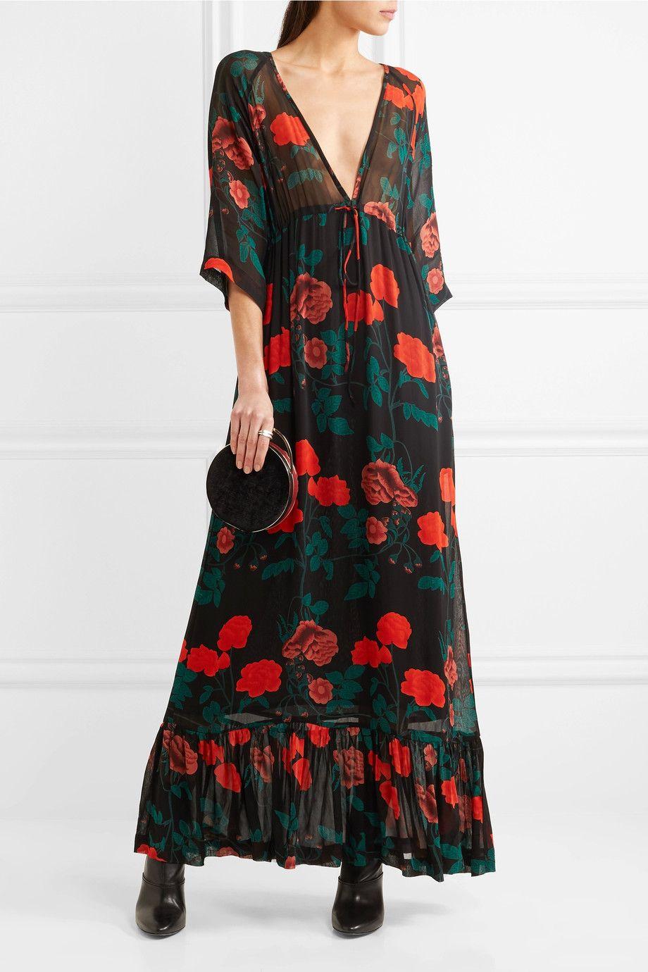 floral flared maxi dress - Black Ganni ni6sRoYo8