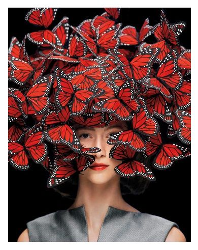 9929feed5b5 Red Butterfly hat by Philip Treacy.
