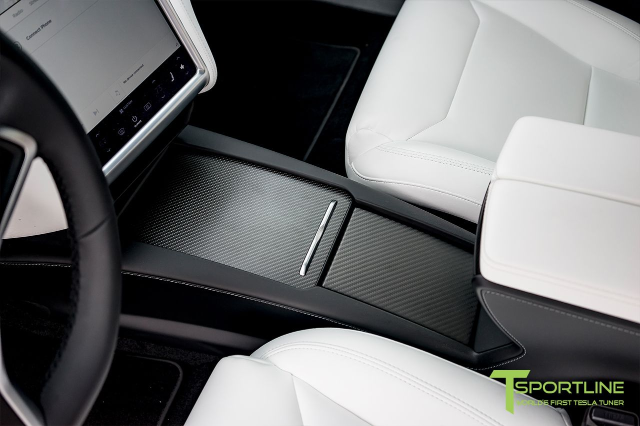 Tesla Carbon Fiber Center Console Flip Door And Sliding Tray Panel Set Tesla Center Console Carbon Fiber