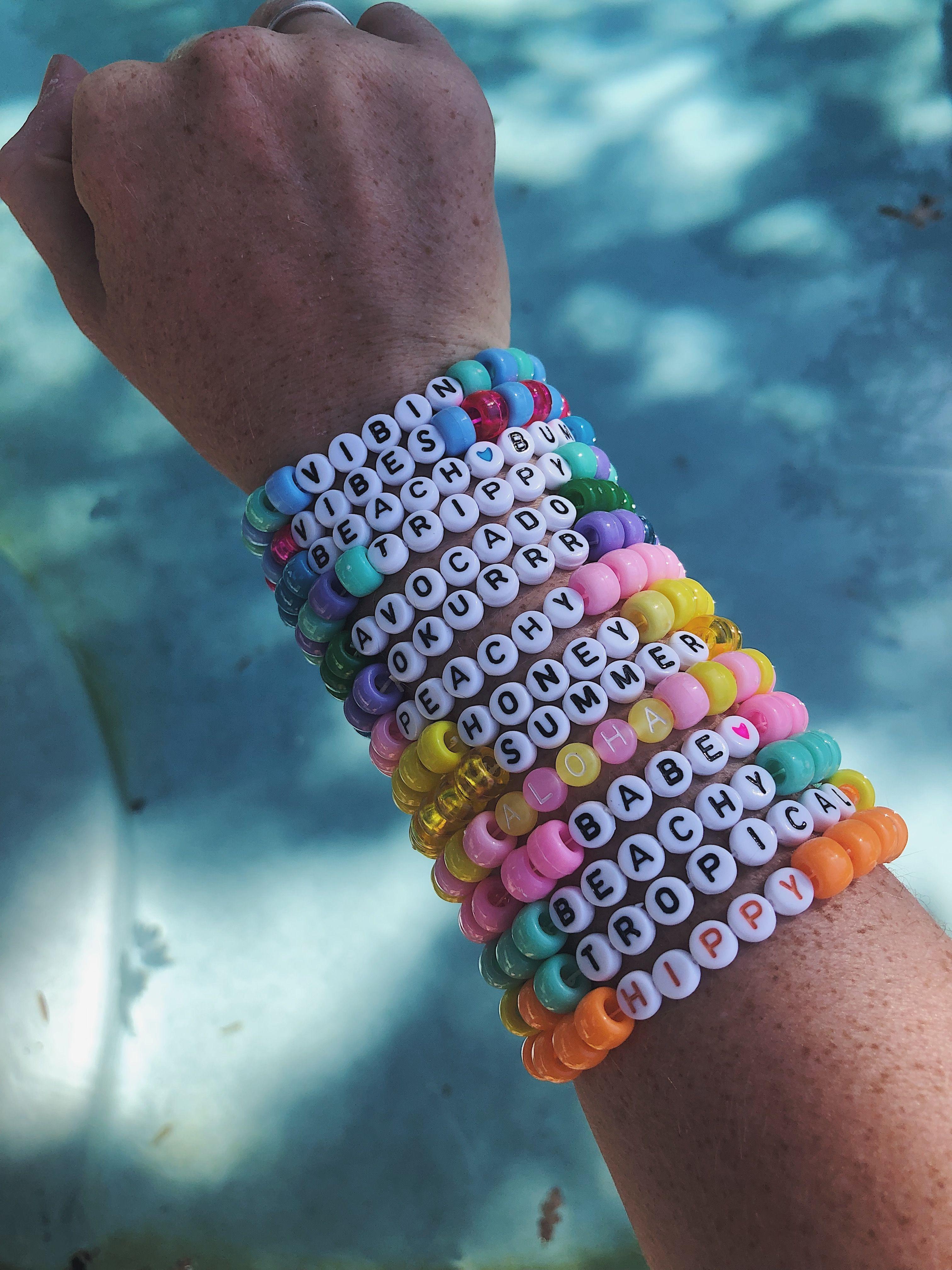 Vsco Bead Bracelets With Words : bracelets, words, Custom, Bracelet,, Jewelry,, Beaded, Letter, Kandi, Friendship, Bracelets, Beads,, Bracelets,