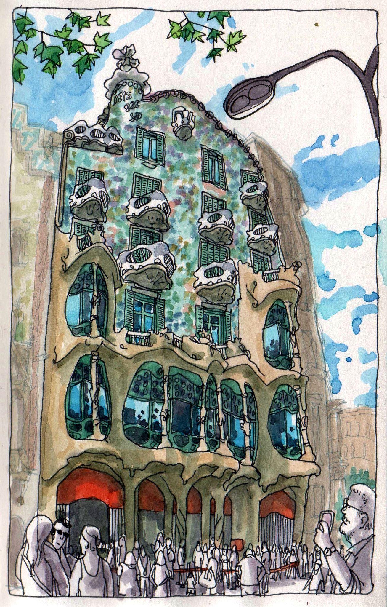 Casa Batll 243 Watercolor Art Architecture Sketch