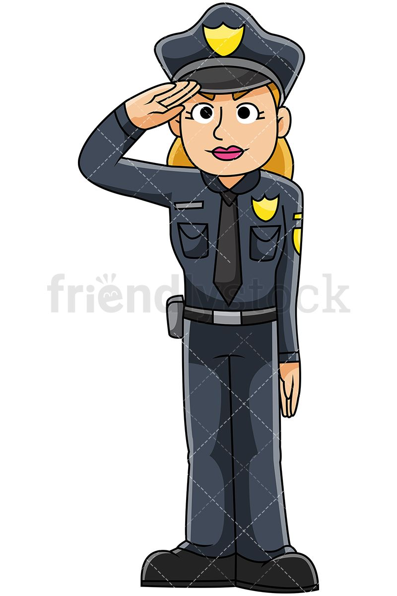 7c80dafcc16e91 Female Police Officer Saluting: Royalty-free stock vector illustration of a  policewoman in uniform standing at attention for the national anthem and ...