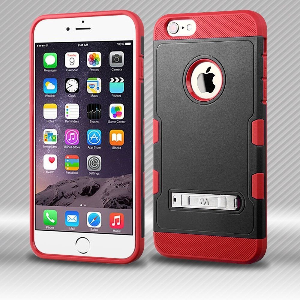 2250a95d59a4 MYBAT TUFF Trooper Hybrid iPhone 6 6s Plus Case - Black Red ...
