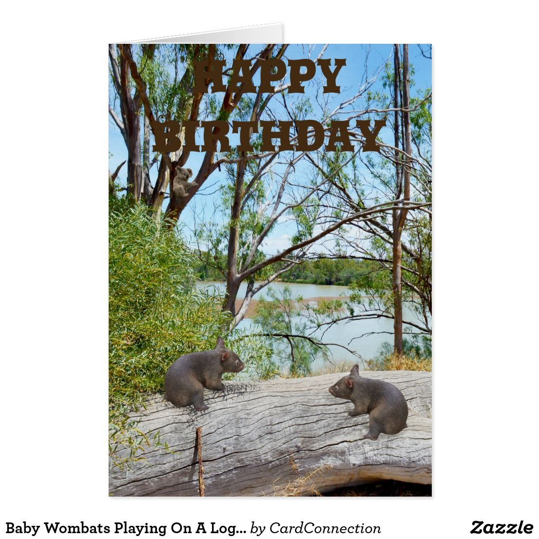 Baby Wombats Playing On A Log Birthday Card Birthday Postcards