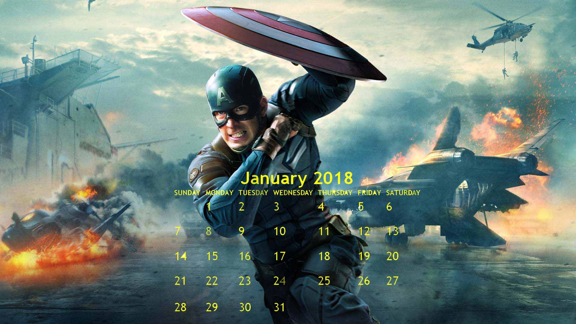 Desktop January Calendar 2018 Captain america wallpaper