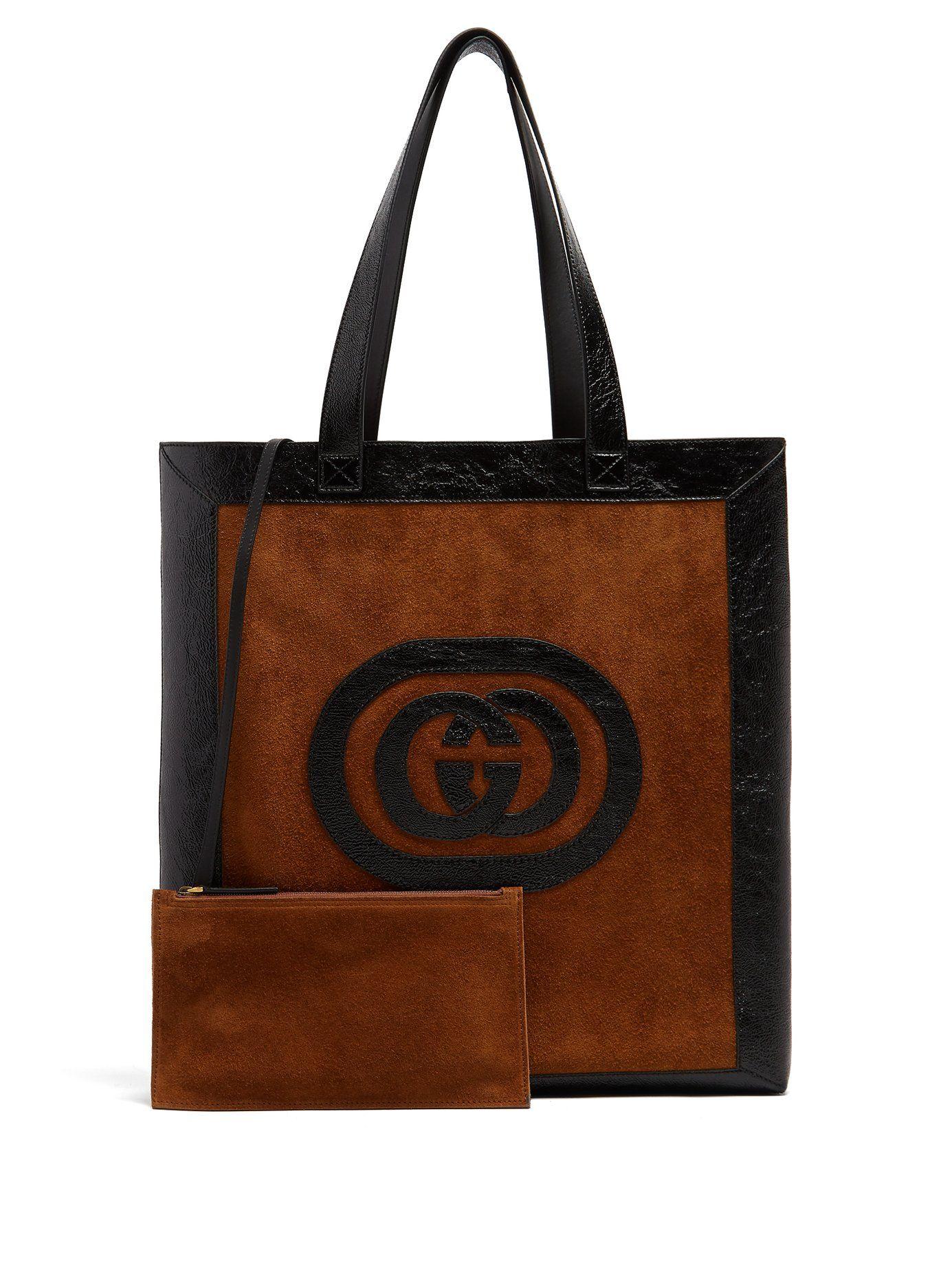 ae97957030a3 GUCCI LOGO-APPLIQUÉ SUEDE TOTE. #gucci #bags #shoulder bags #hand ...