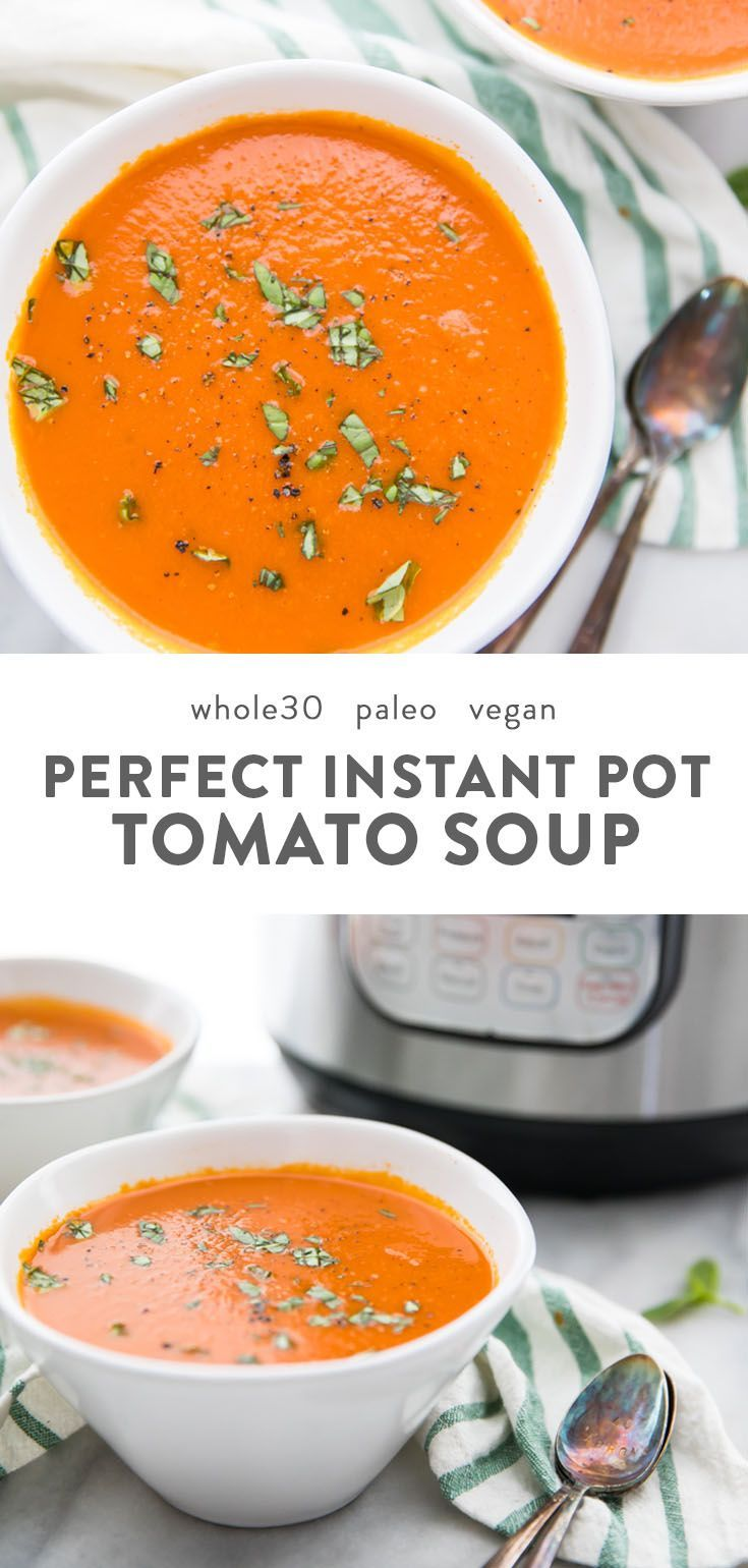 This right here is the perfect Whole30 Instant Pot tomato soup (vegan) recipe. Creamy and rich but dairy-free and refined-sugar-free, this Whole30 Instant Pot tomato soup comes together easily and is the perfect nourishing and comforting soup for any Whole30, paleo, or vegan diet. No one would ever guess it's Whole30 or vegan, either!