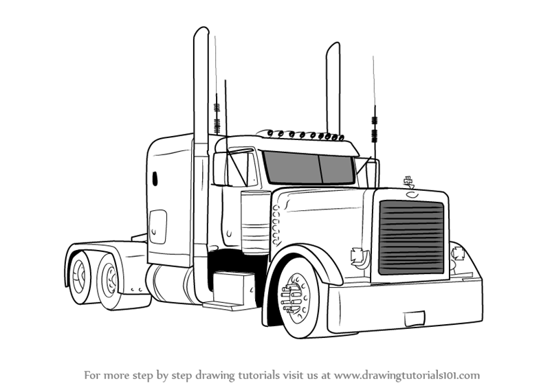 learn how to draw peterbilt 379 truck  trucks  step by