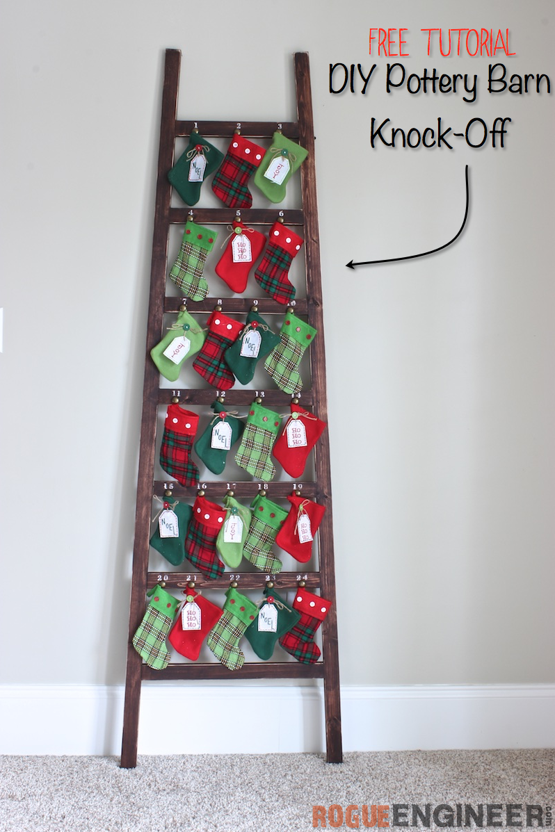 Stocking Advent Ladder Diy advent calendar, Christmas