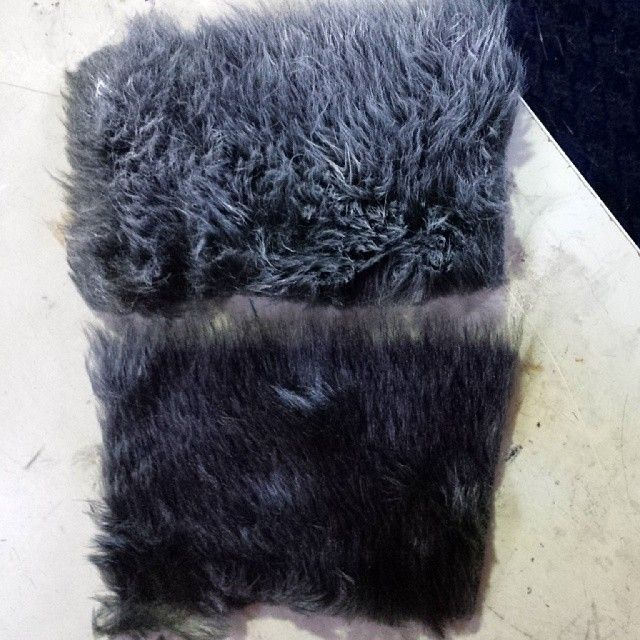 Upscaling cheap fur for cosplay. Below is the fairly dull matte faux fur. Above is the same fur after a light dry brushing with white acrylic. #disneycosplay #cosplay #fauxfur #kristoffcosplay...