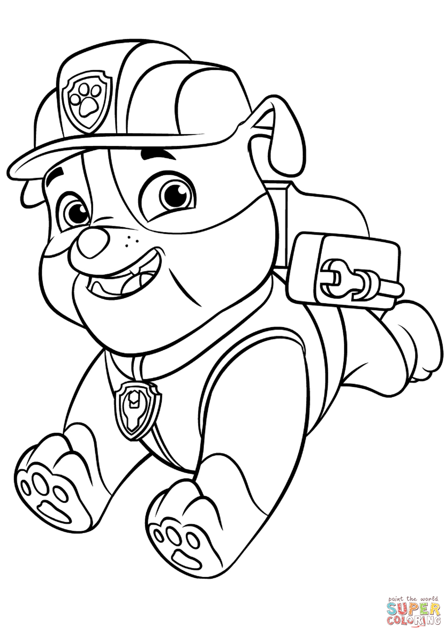 Paw Patrol Rubble With Backpack Super Coloring Colouring In 2020 Paw Patrol Coloring Pages Paw Patrol Coloring Paw Patrol Cartoon