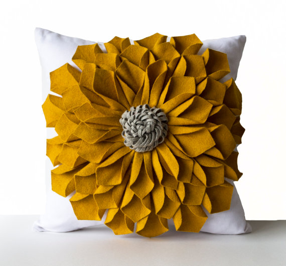 Dorm Pillows, Felt Flower Pillow Cover, Mustard Gray White Pillow Case, Floral Pillow, Anniversary, Wedding,Mother's day gifts