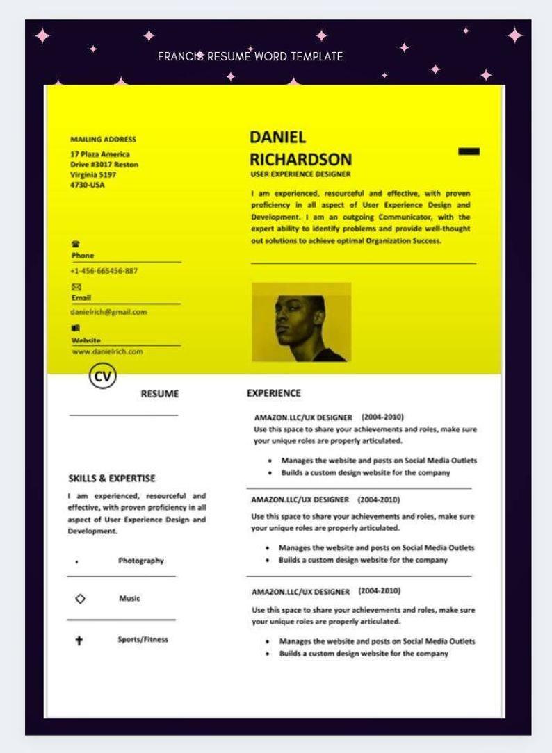 Professional Resume Cv Template Resume Template Word Resume Cover Letter Ats Resume Cv Design Word Template Application Letter Cover Letter For Resume Cv Template Resume Template